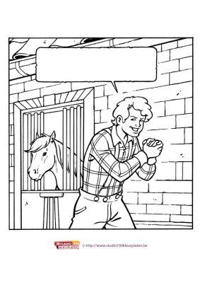 Kleurplaat 15: Amika paardenstal
