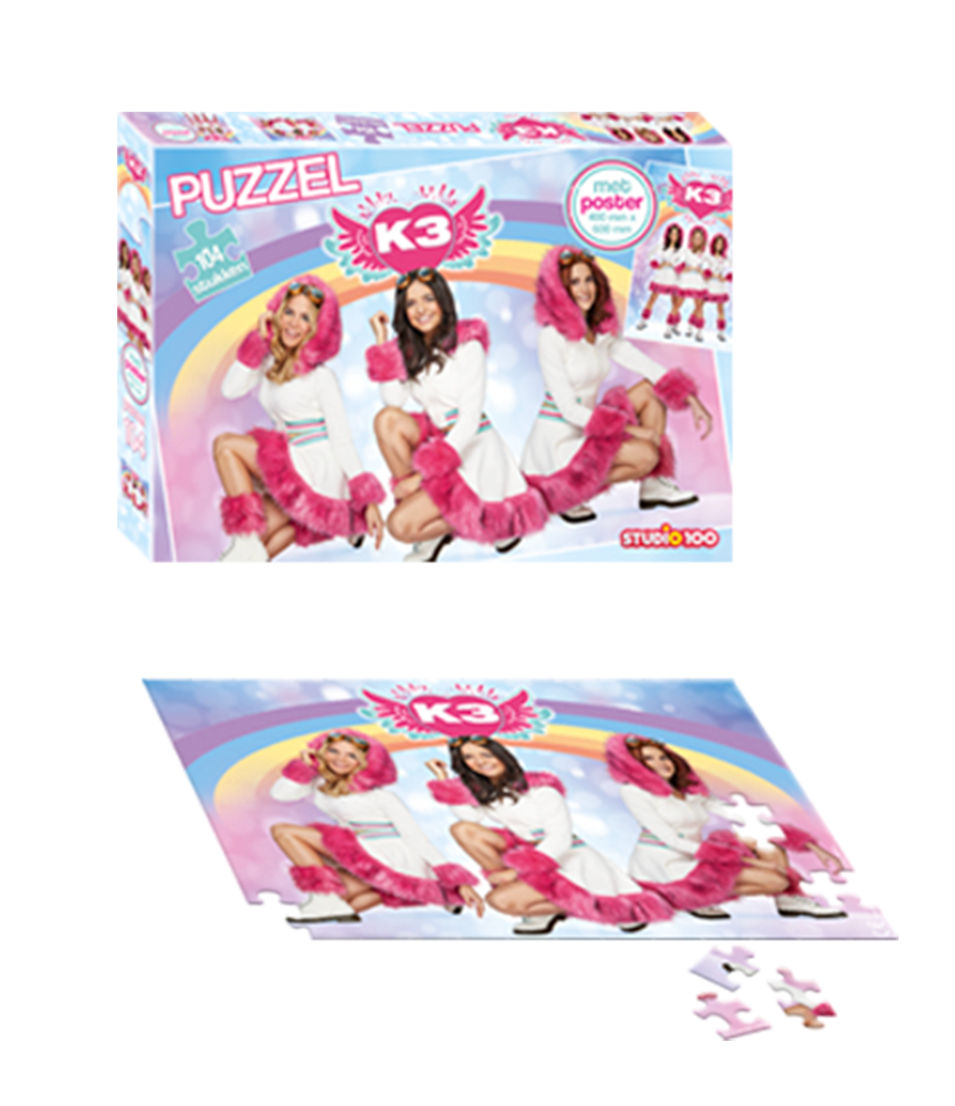 Gratis K3 puzzel bij aankoop van €25 aan K3 producten!