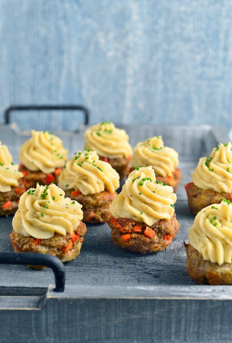 Gehaktcupcakes met aardappelpuree