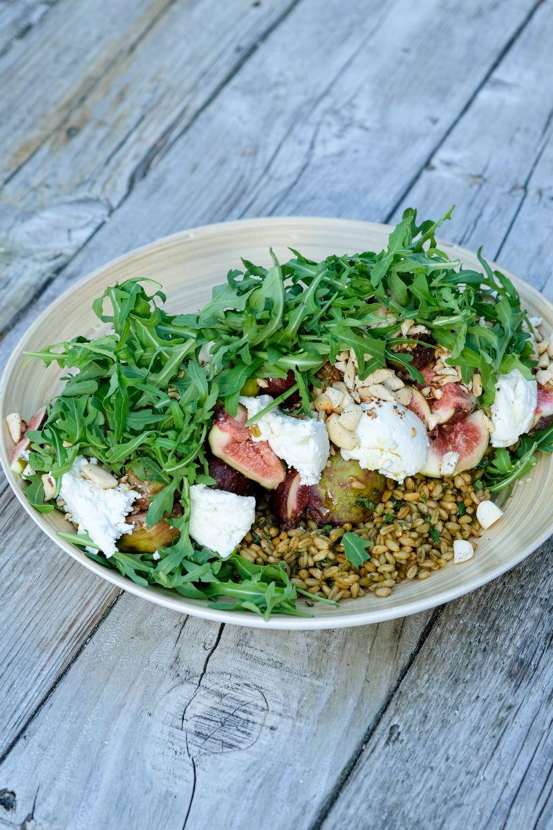 Freekeh salade met vijgen en geitenkaas