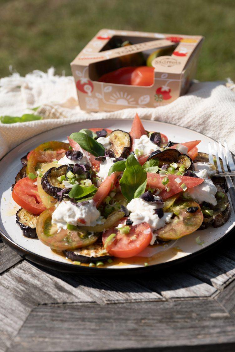 Gegrilde aubergine met burrata