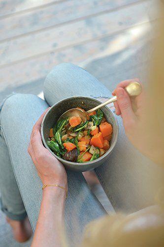Vegan roompotje met zoete aardappel en spinazie