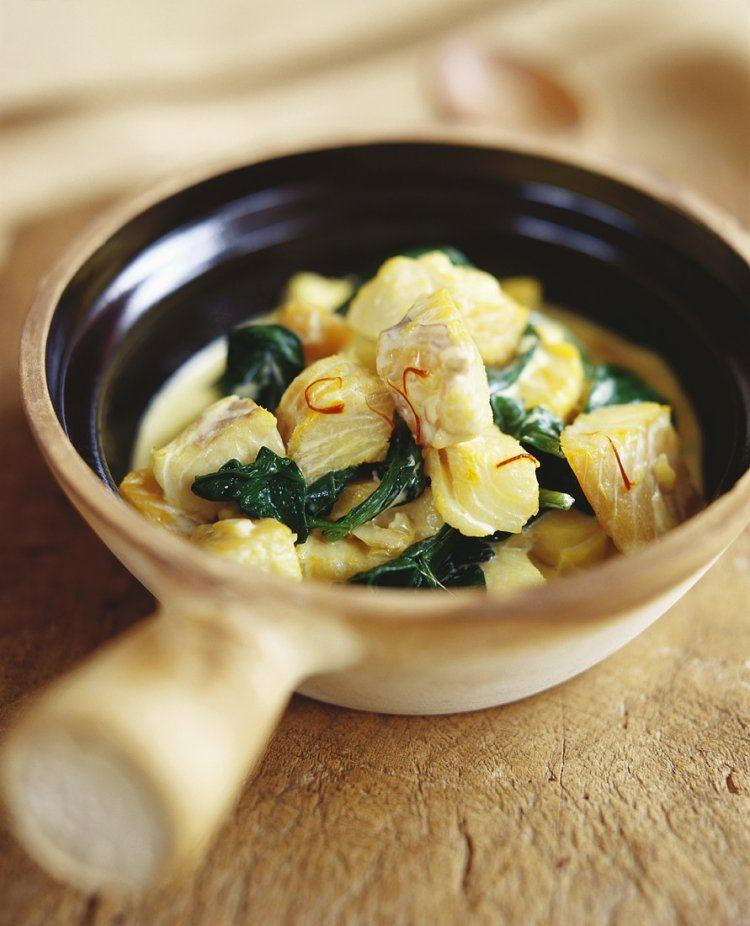 Vispannetje met spinazie en saffraan