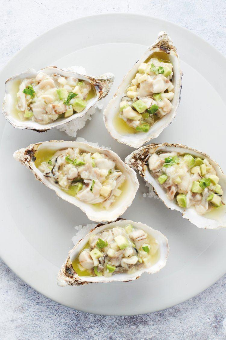 Salade van oester met avocado en appel