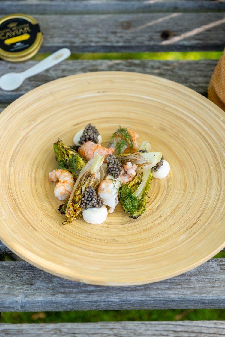 Salade van langoustines met kaviaar