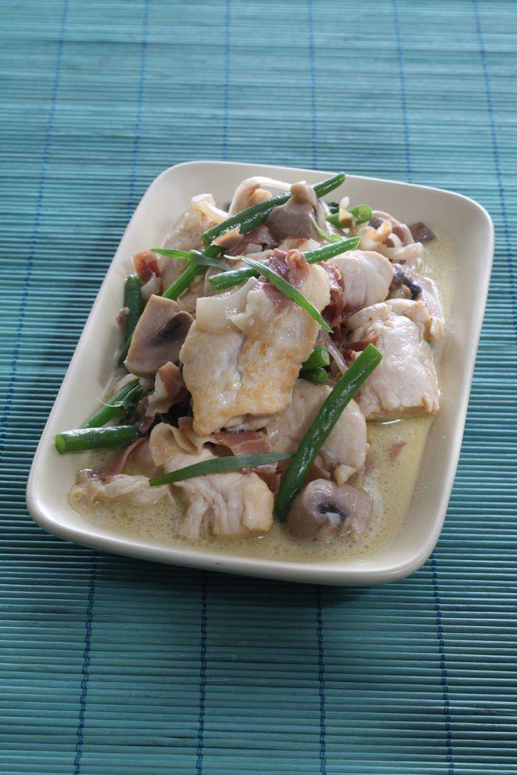 Gewokte kip met ham en boontjes