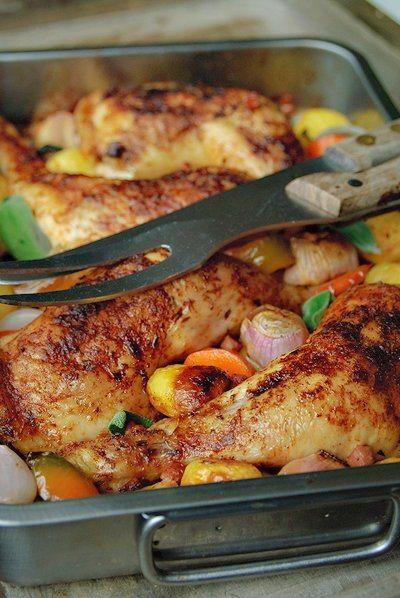 Lekker geroosterde kip met groenten