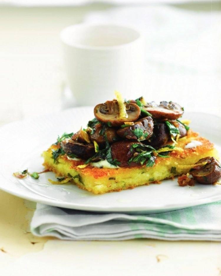 Polentatoast met champignons