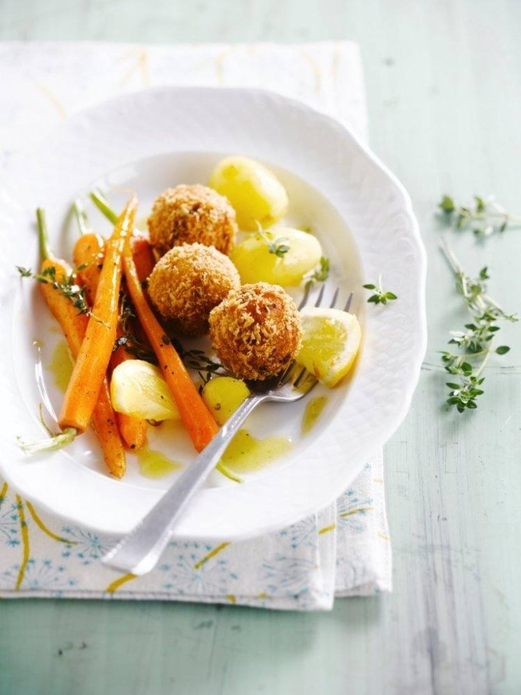 Garnaalballetjes met jonge worteltjes