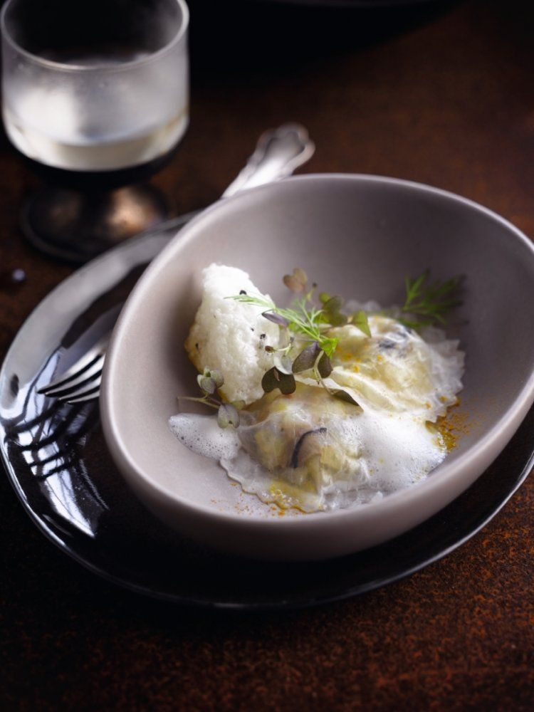Ravioli met groene appel en oesters
