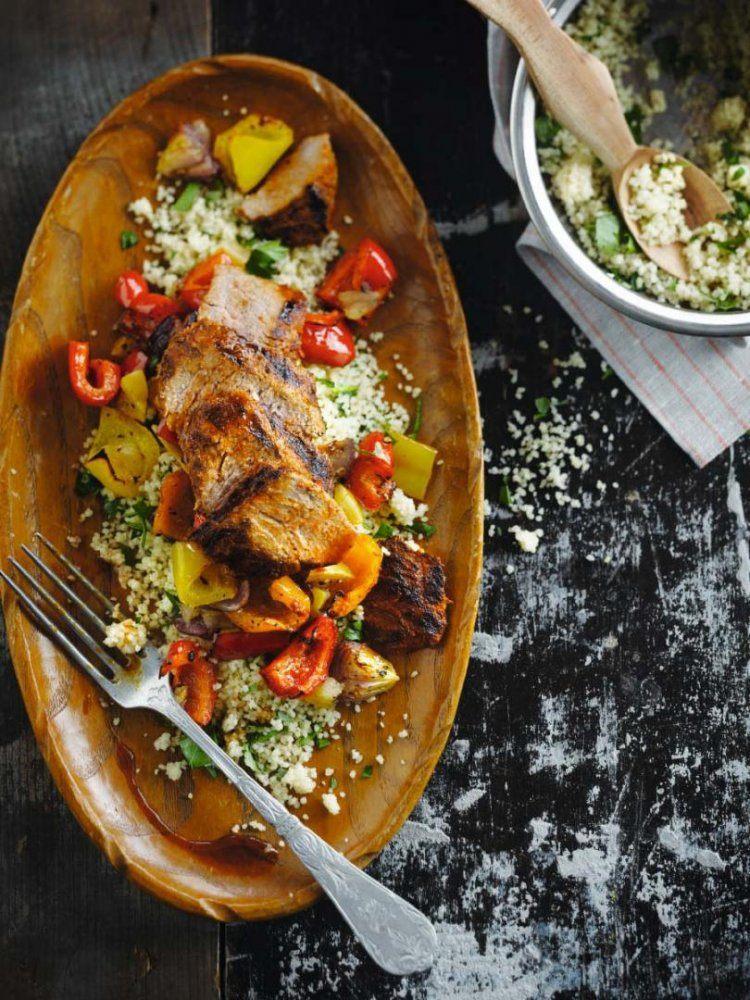 Couscous met rundsvlees en geroosterde paprika's