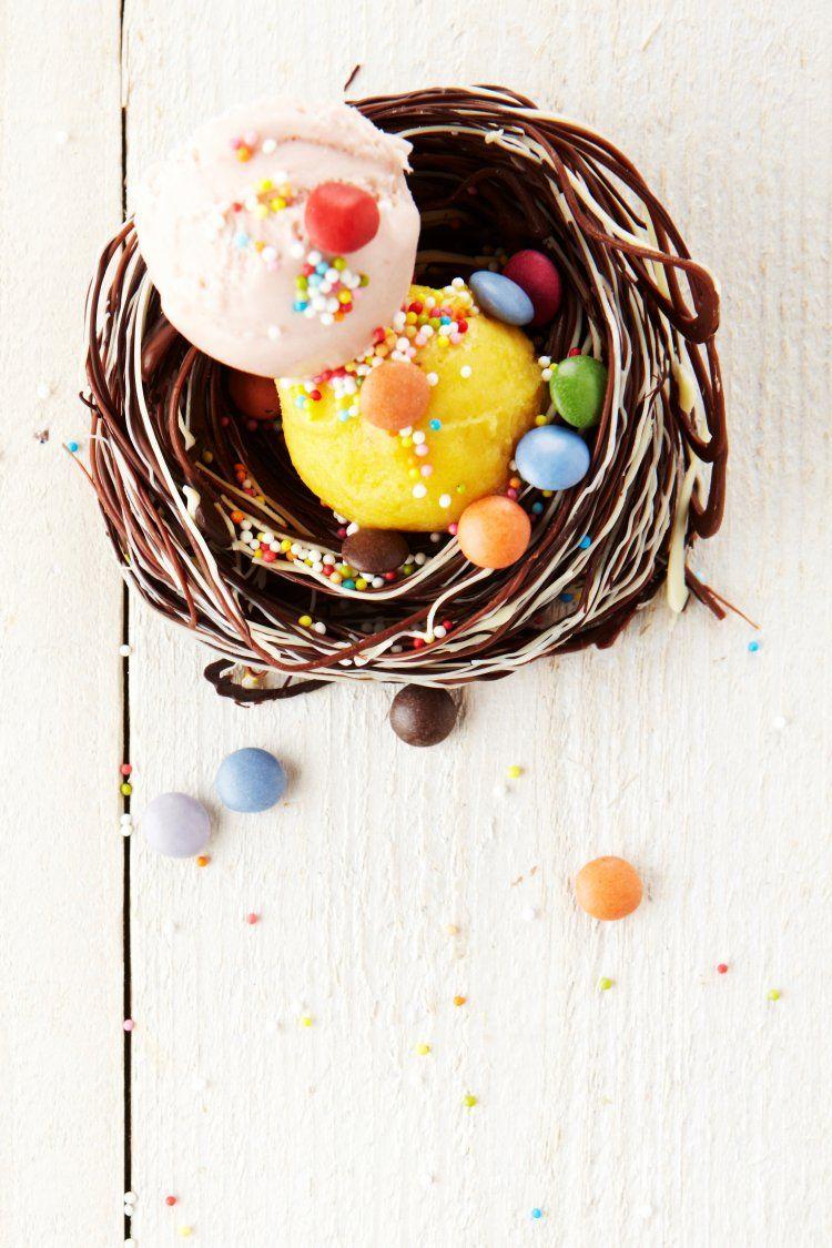 Vogelnestje uit chocolade