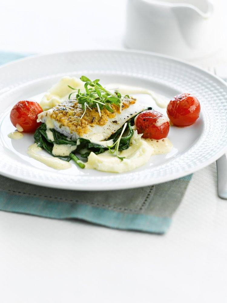 Griet met spinazie en gepofte kerstomaatjes