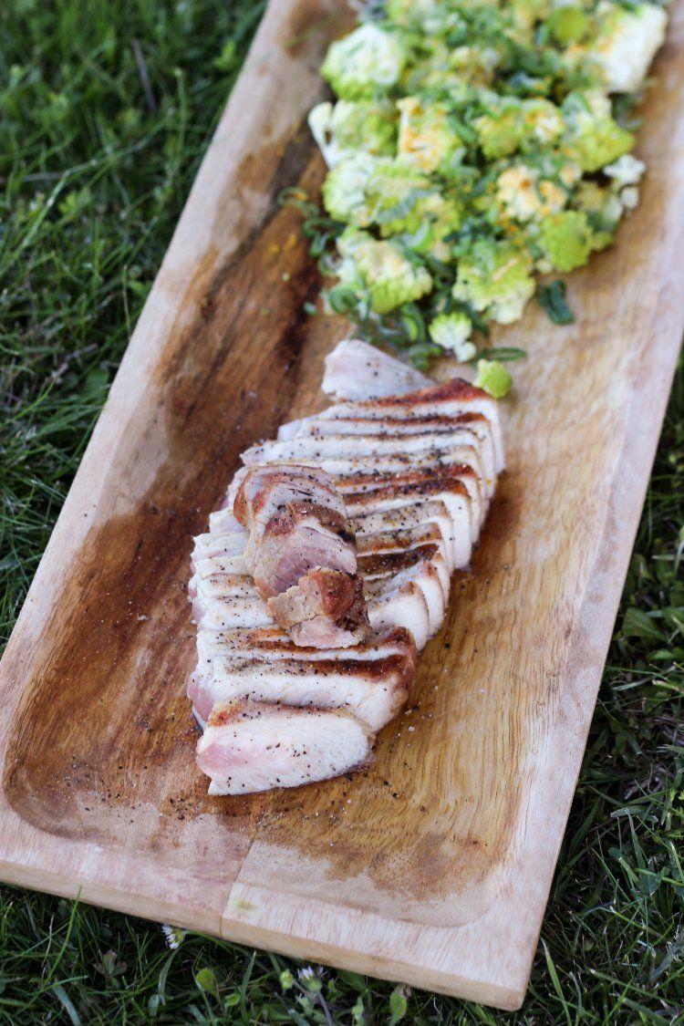Varkenskotelet met gegrilde romanesco