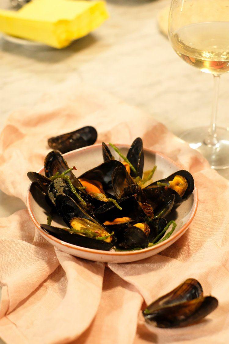 Mosselen met zeekraal en sherry